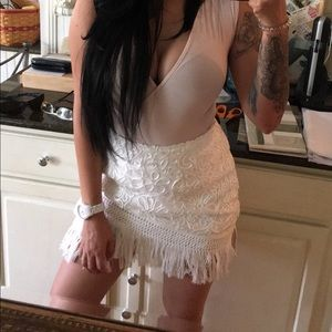 Missguided white embroided skirt size 4